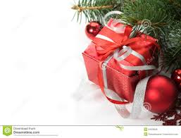 gift box and ornaments on the white stock photo image 34599928