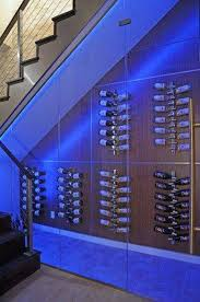 wine cellar under stairs with led lighting wine cellar under