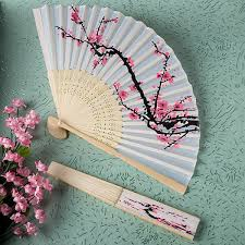 wedding fan favors cherry blossoms silk sandalwood folding wedding fans