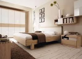 rustic bedroom decor with light beige painted wall and natural oak