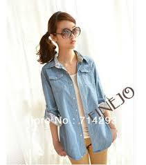 light blue top women s new fashion korean women s top long sleeve light blue denim blouse