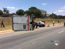 lexus kempton park truck crushes bakkie on r21 driver killed kempton express