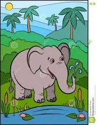 cartoon wild animals for kids little cute elephant stock vector