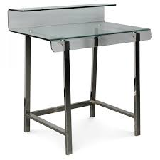 bureau verre et metal bureau design en verre pieds en métal chromé willare