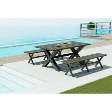 Zuo Outdoor Furniture by Zuo Bodega Aluminum Outdoor Dining Table 703817 The Home Depot