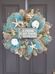 seashell wreath a drink in my toes in the sand wreath seashell wreath