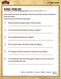 science vocab quiz u20135th grade science printables online