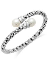 pearl sterling silver bracelet images Cultured freshwater pearl bypass bangle bracelet in sterling tif
