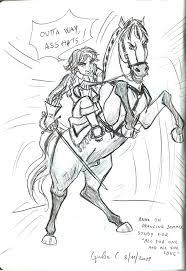 anna on horse sketch by shishiyoukai on deviantart