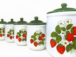 vintage mccoy strawberry kitchen canister set retro canister set