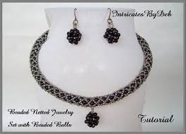 beaded ball necklace images Tutorial beaded netted rope necklace earring jewelry set jpg