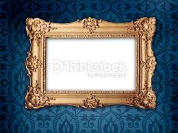 gold frame on victorian or regency style wallpaper stock photo