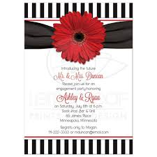 Engagement Invitations Card Red Black White Daisy Stripes 50s Engagement Party Invitation