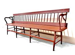 Rustic Wooden Bench Long Antique Train Depot Bench 2 Sides Center Platform Rustic Wood