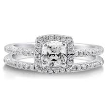 bridal ring set sterling silver cushion cubic zirconia cz halo engagement
