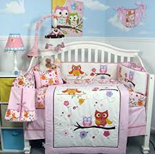 Nursery Bed Set Soho Pink Owl Baby Crib Nursery Bedding Set