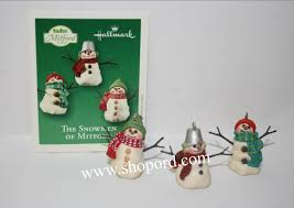 hallmark 2003 the snowmen of mitford miniature ornament set of 2