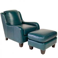 innovative teal leather chair with jitterbug chair and ottoman