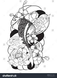 koi carp tattoo images hand drawn outline koi fish tattoo stock vector 587217059