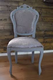 shabby chic louis chair grey with silver velvet fabric hallway