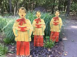 vintage trio wood singing carolers choirboy yard