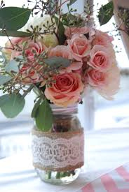 Baby shower decor girl Wedding centerpiece Mason jar Vintage