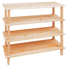 pine wood 4 tier storage wooden shelf shoe rack amazon co uk