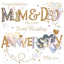 anniversary cards for pearl 30th wedding anniversary greeting card cards