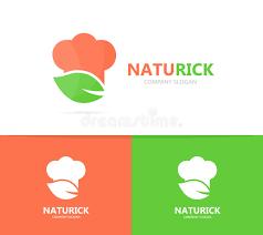 symbole cuisine combinaison de logo de chef et de feuille cuisine et symbole ou