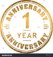Vintage Anniversary 1 Year Round Grunge Stock Vector 348887885