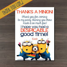 despicable me minions custom birthday thank you cards