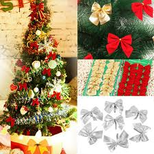 12 pcs tree decorations bows bowknot silver