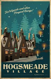 harry potter hogsmeade village travel poster wall mural zoom
