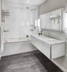 lockable bathroom cabinets with contemporary dark gray floor tile