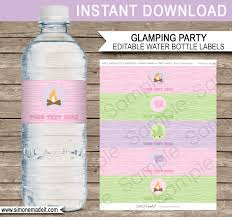 glamping party water bottle labels editable template