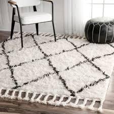 nuloom hand knotted moroccan trellis natural shag wool rug 5 u0027 x 8