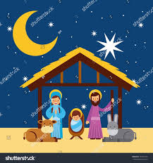 merry christmas holy family traditional religious stock vector