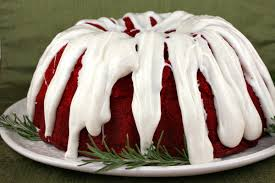red velvet bundt cake with cinnamon cream cheese glaze