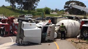 cement truck overturns on northbound interstate 805 at balboa