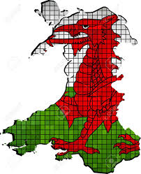 Flag That Is Green White And Red Wales Map With Flag Inside Illustration Red Dragon On The