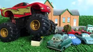 lightning mcqueen monster truck videos disney pixar cars toys monster truck lightning mcqueen sally
