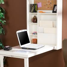 white wood wall mounted foldable computer desk design with stationery shelves and file cabinet storage built in