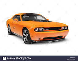 Dodge Muscle Cars - orange 2014 dodge challenger muscle car isolated on white