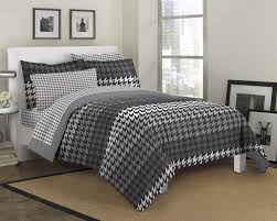 houndstooth bedding black white gray twin full queen bed in a bag