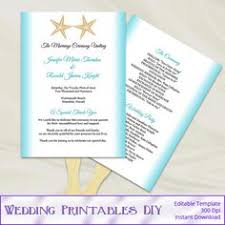 printing wedding programs fan program template starfish coral diy wedding order of