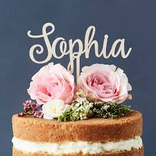 personalised wooden cake topper by