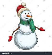 colorful sketch cheerful christmas snowman on stock vector