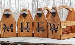 wooden groomsmen gifts wooden tote personalized carrier six pack home brew