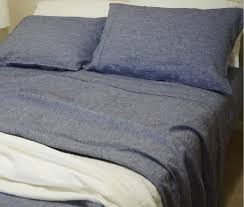 chambray denim linen sheets set handcrafted by superior custom