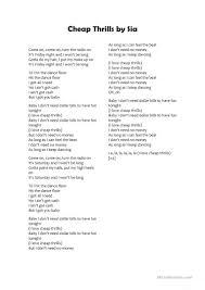Chandelier Lyrics By Sia Cheap Thrills By Sia Worksheet Free Esl Printable Worksheets